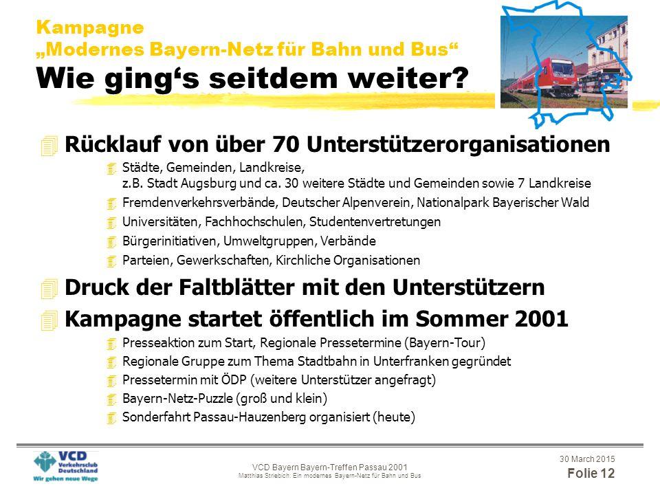 """30 March 2015 Folie 11 VCD Bayern Bayern-Treffen Passau 2001 Matthias Striebich: Ein modernes Bayern-Netz für Bahn und Bus Kampagne """"Modernes Bayern-Netz für Bahn und Bus Der Stand der Dinge 03/2001 4Kooperation VCD-BN-ProBahn 4Erstunterzeichner/innen wurden gesucht und gefunden, u.a.: 4Prof.Dr.Dr.h.c."""
