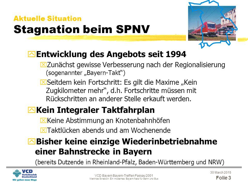 """30 March 2015 Folie 13 VCD Bayern Bayern-Treffen Passau 2001 Matthias Striebich: Ein modernes Bayern-Netz für Bahn und Bus Kampagne """"Modernes Bayern-Netz für Bahn und Bus Das Bayern-Netz-Puzzle"""