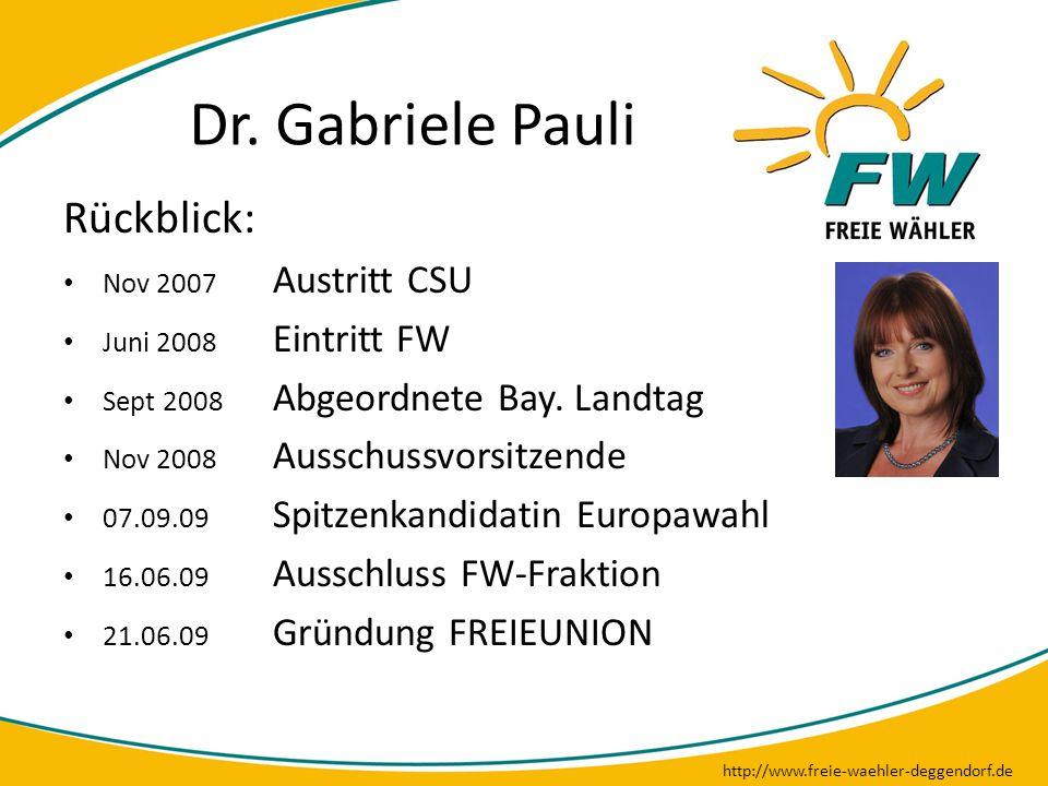 Dr. Gabriele Pauli http://www.freie-waehler-deggendorf.de Rückblick: Nov 2007 Austritt CSU Juni 2008 Eintritt FW Sept 2008 Abgeordnete Bay. Landtag No