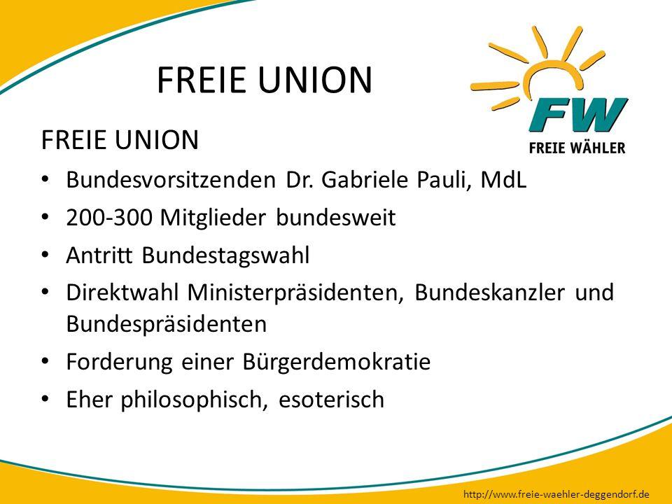 FREIE UNION http://www.freie-waehler-deggendorf.de FREIE UNION Bundesvorsitzenden Dr. Gabriele Pauli, MdL 200-300 Mitglieder bundesweit Antritt Bundes