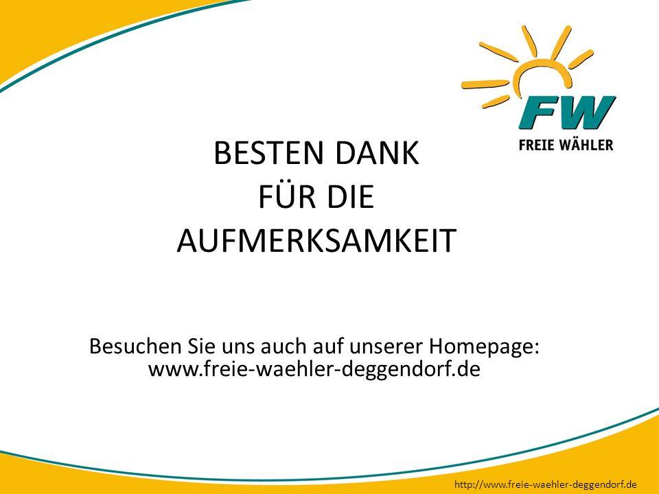 BESTEN DANK FÜR DIE AUFMERKSAMKEIT http://www.freie-waehler-deggendorf.de Besuchen Sie uns auch auf unserer Homepage: www.freie-waehler-deggendorf.de
