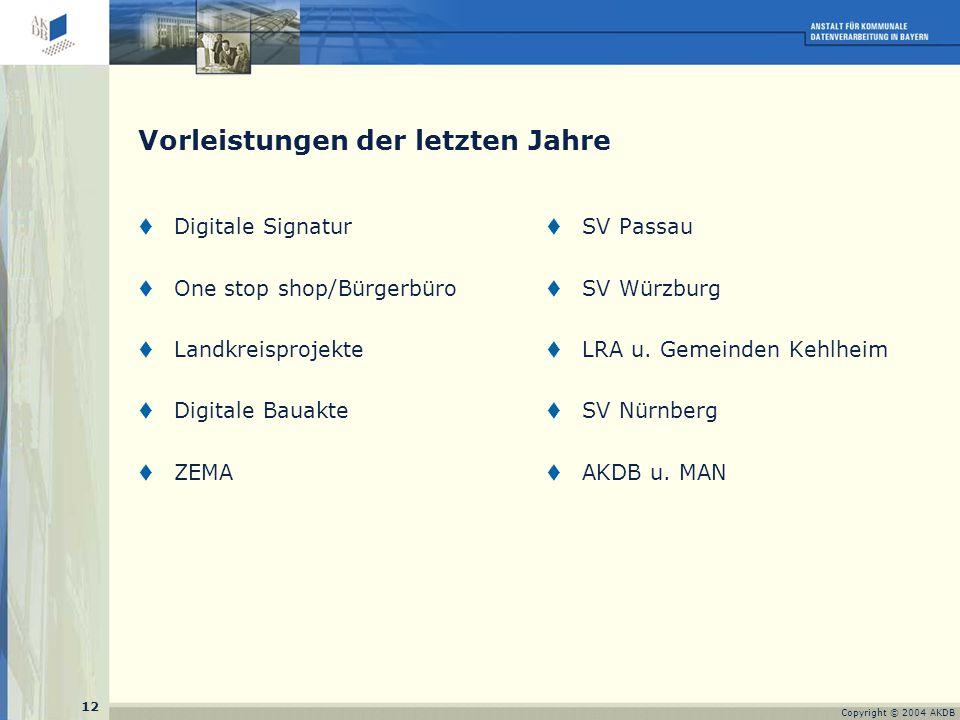 12 Copyright © 2004 AKDB Vorleistungen der letzten Jahre  Digitale Signatur  One stop shop/Bürgerbüro  Landkreisprojekte  Digitale Bauakte  ZEMA  SV Passau  SV Würzburg  LRA u.
