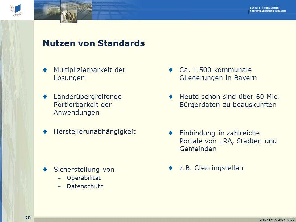 20 Copyright © 2004 AKDB Nutzen von Standards  Multiplizierbarkeit der Lösungen  Länderübergreifende Portierbarkeit der Anwendungen  Herstellerunabhängigkeit  Sicherstellung von –Operabilität –Datenschutz  Ca.
