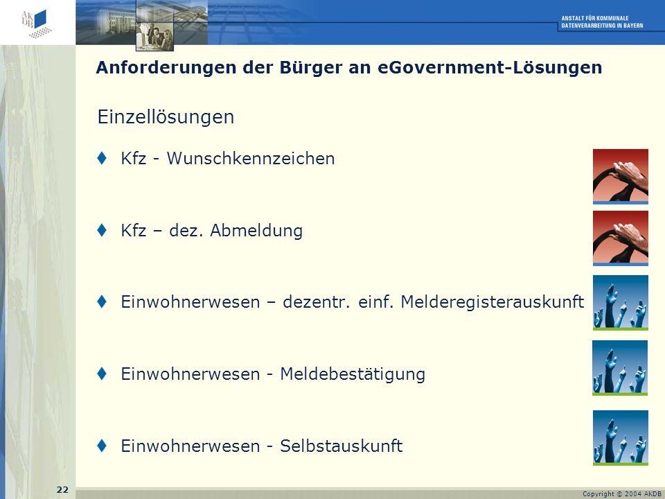 22 Copyright © 2004 AKDB Einzellösungen  Kfz - Wunschkennzeichen  Kfz – dez.