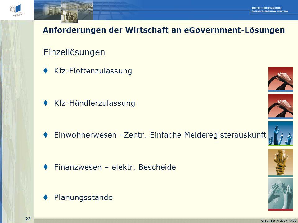 23 Copyright © 2004 AKDB Einzellösungen  Kfz-Flottenzulassung  Kfz-Händlerzulassung  Einwohnerwesen –Zentr.