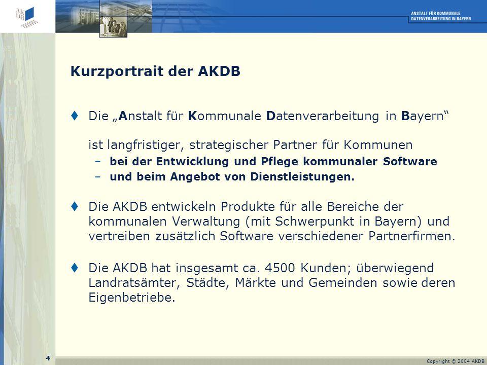 5 Copyright © 2004 AKDB Die Rollen der AKDB (I)  Softwarehaus für Entwicklung und Pflege kommunaler Anwendungen und deren Einsatz in Städten, Gemeinden, Landkreisen und kommunalen Service-Rechenzentren durch –AKDB in Bayern –Tochterunternehmen DVKS in Sachsen -Tochterunternehmen kommIT (Köln) als gemeinsamer Vertriebs-GmbH mit Dataport AöR (Hamburg/ Schleswig-Holstein) in Deutschland  Dienstleistungsunternehmen in Bayern -AKDB für ihre Verfahren -LivingData als kom.