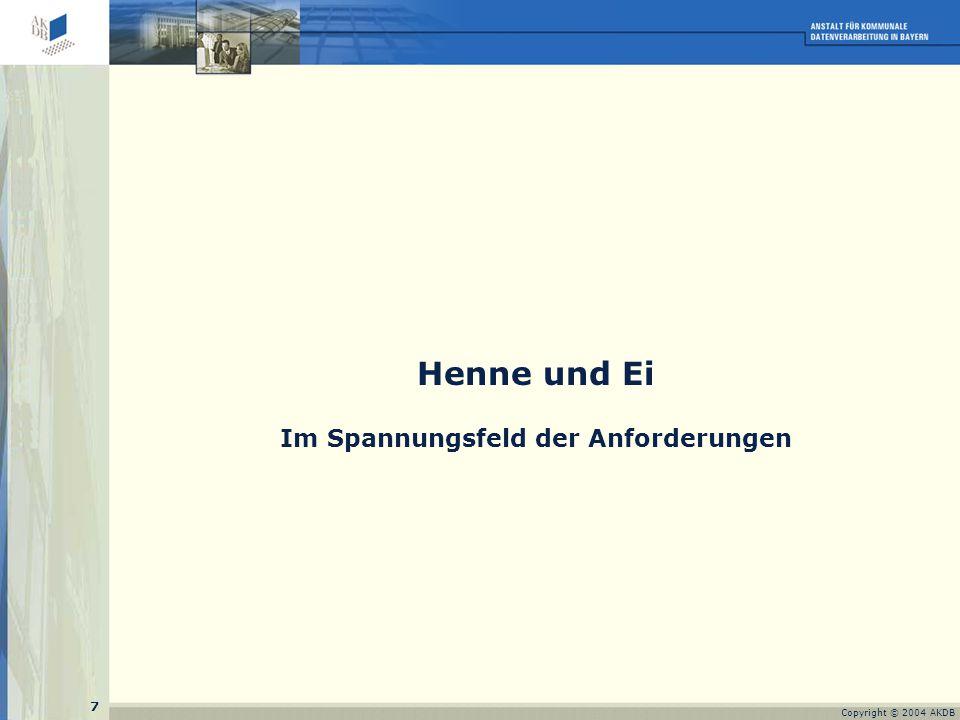 7 Copyright © 2004 AKDB Henne und Ei Im Spannungsfeld der Anforderungen