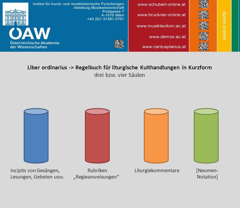 Liber ordinarius -> Regelbuch für liturgische Kulthandlungen in Kurzform drei bzw.