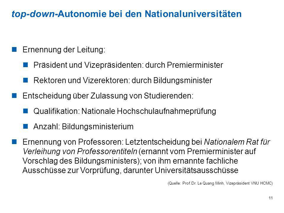top-down-Autonomie bei den Nationaluniversitäten 11 Ernennung der Leitung: Präsident und Vizepräsidenten: durch Premierminister Rektoren und Vizerekto