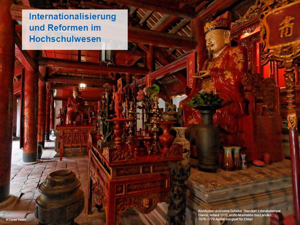 9 Internationalisierung und Reformen im Hochschulwesen © Daniel Vaulot Konfuzius und seine Schüler. Standort: Literaturtempel Hanoi, erbaut 1070, erst
