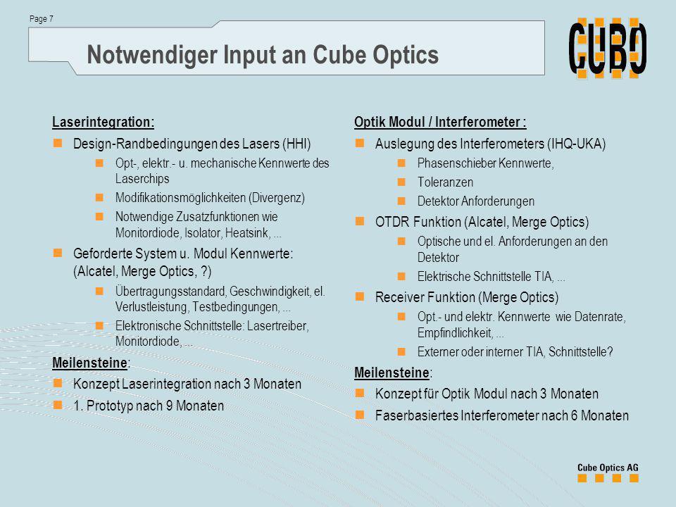 Page 7 Notwendiger Input an Cube Optics Laserintegration: Design-Randbedingungen des Lasers (HHI) Opt-, elektr.- u.