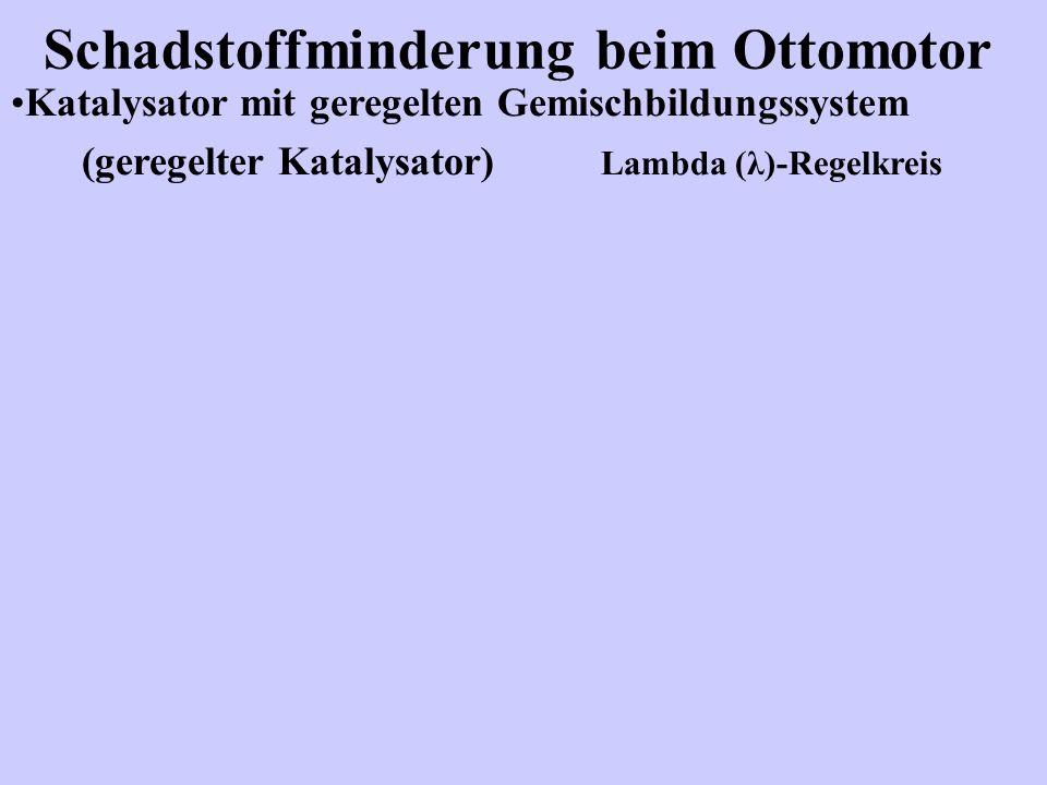 Schadstoffminderung beim Ottomotor Katalysator mit geregelten Gemischbildungssystem (geregelter Katalysator) Lambda (λ)-Regelkreis