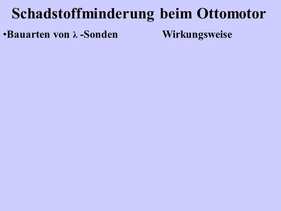 Schadstoffminderung beim Ottomotor Bauarten von λ -Sonden Wirkungsweise