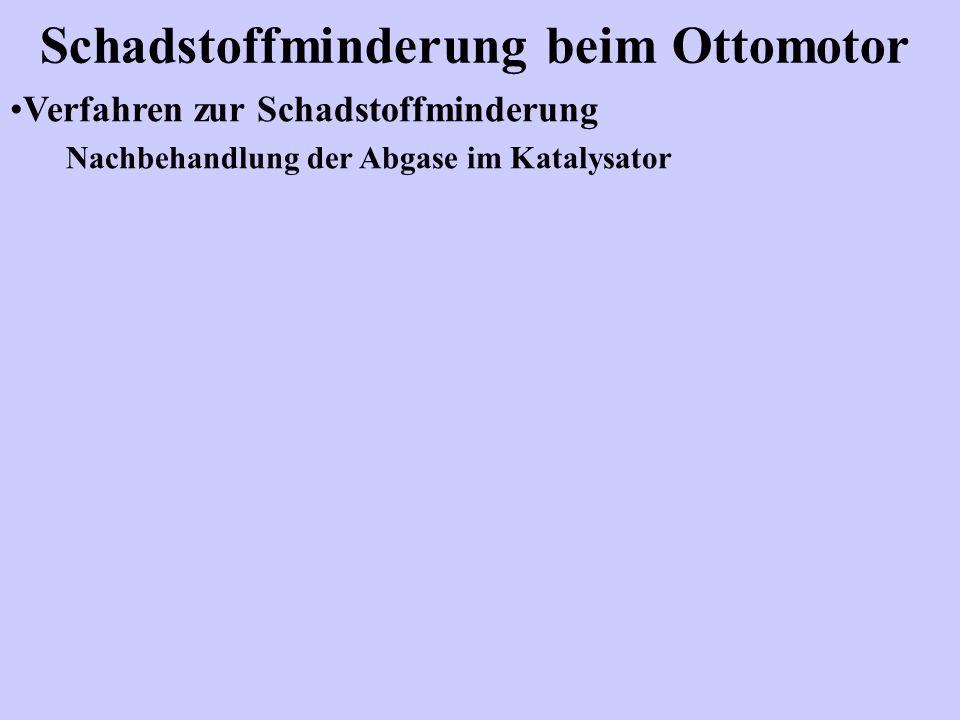 Schadstoffminderung beim Ottomotor Verfahren zur Schadstoffminderung Nachbehandlung der Abgase im Katalysator
