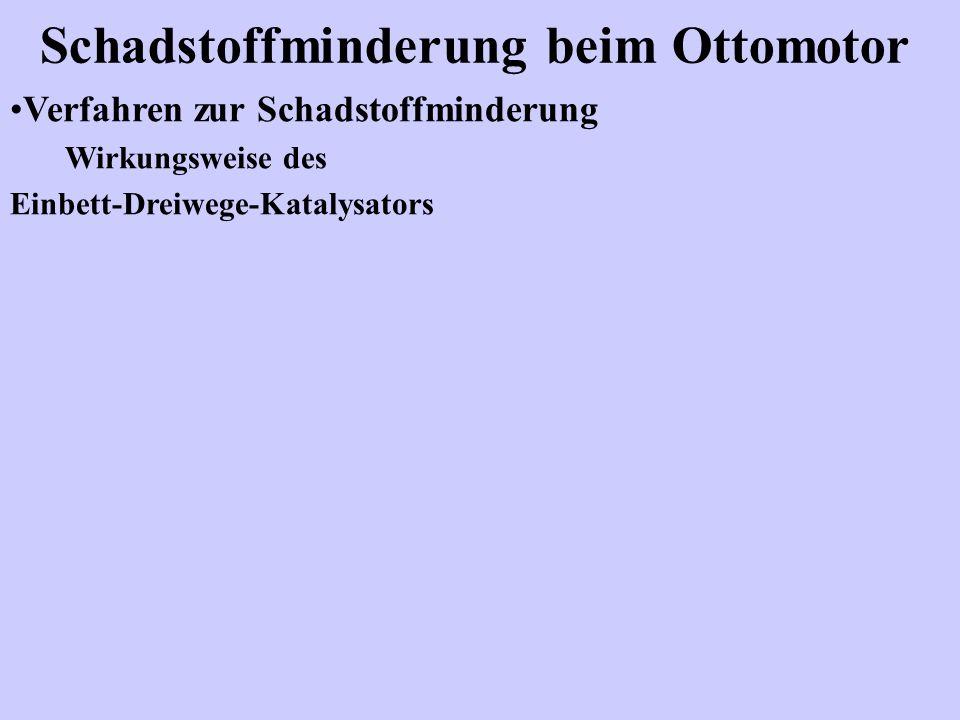 Schadstoffminderung beim Ottomotor Verfahren zur Schadstoffminderung Wirkungsweise des Einbett-Dreiwege-Katalysators
