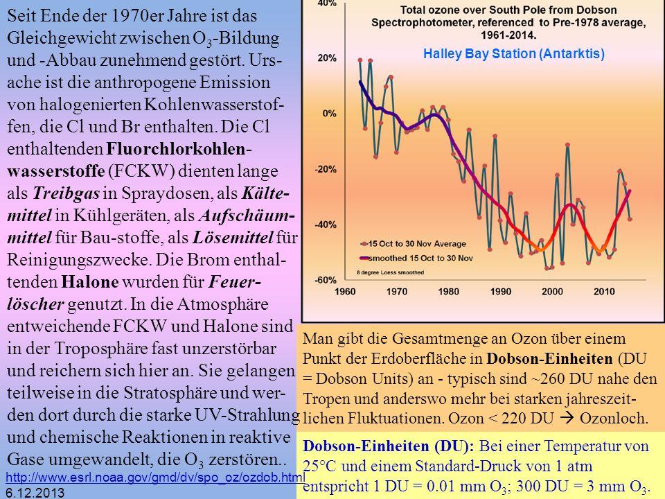 Man gibt die Gesamtmenge an Ozon über einem Punkt der Erdoberfläche in Dobson-Einheiten (DU = Dobson Units) an - typisch sind ~260 DU nahe den Tropen