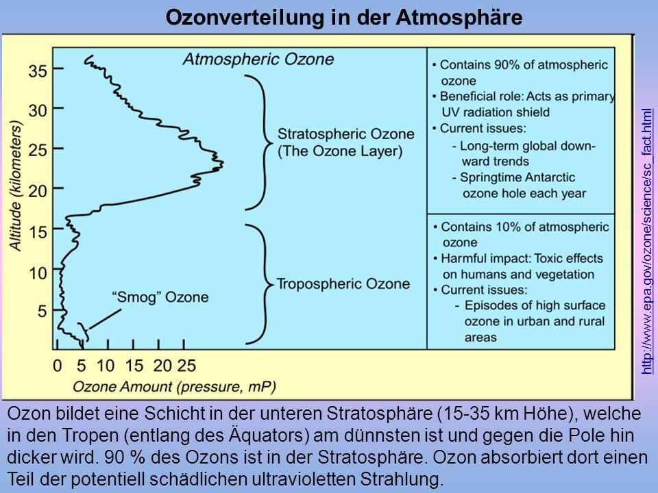 Ozon bildet eine Schicht in der unteren Stratosphäre (15-35 km Höhe), welche in den Tropen (entlang des Äquators) am dünnsten ist und gegen die Pole h