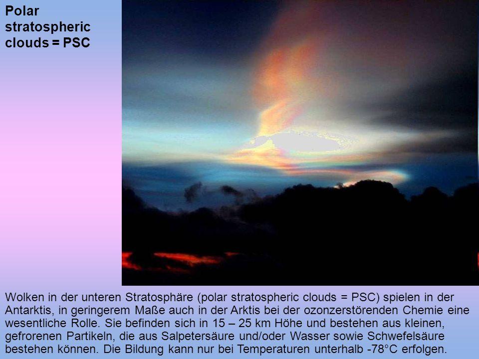 Wolken in der unteren Stratosphäre (polar stratospheric clouds = PSC) spielen in der Antarktis, in geringerem Maße auch in der Arktis bei der ozonzers