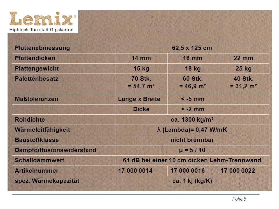 Folie 5 Plattenabmessung62,5 x 125 cm Plattendicken14 mm16 mm22 mm Plattengewicht15 kg18 kg25 kg Palettenbesatz70 Stk. = 54,7 m² 60 Stk. = 46,9 m² 40