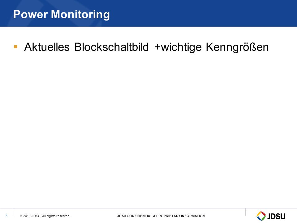© 2011 JDSU. All rights reserved.JDSU CONFIDENTIAL & PROPRIETARY INFORMATION3 Power Monitoring  Aktuelles Blockschaltbild +wichtige Kenngrößen