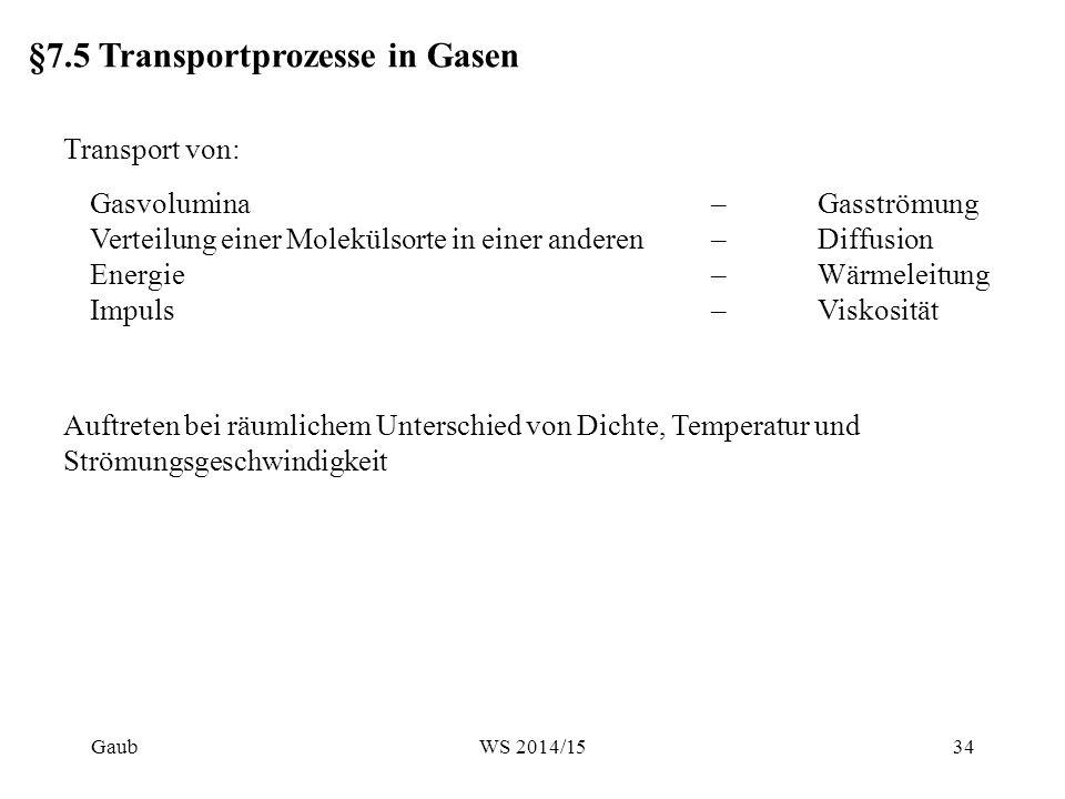 §7.5 Transportprozesse in Gasen Transport von: Gasvolumina Verteilung einer Molekülsorte in einer anderen Energie Impuls –Gasströmung –Diffusion –Wärm