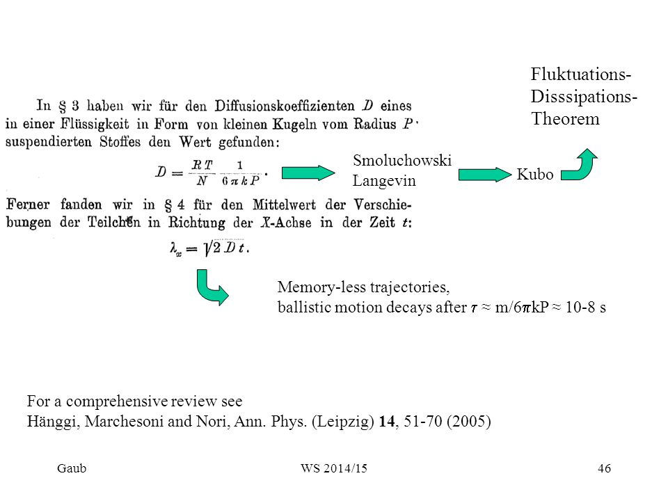 Fluktuations- Disssipations- Theorem For a comprehensive review see Hänggi, Marchesoni and Nori, Ann. Phys. (Leipzig) 14, 51-70 (2005) Kubo Memory-les