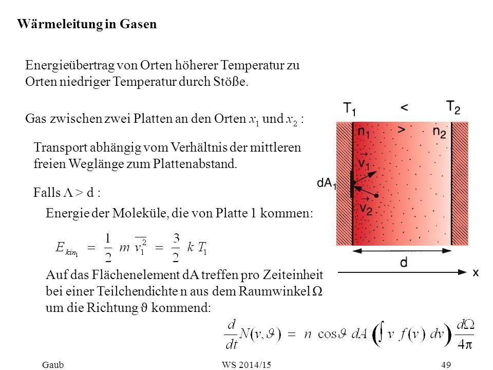 Wärmeleitung in Gasen Energieübertrag von Orten höherer Temperatur zu Orten niedriger Temperatur durch Stöße. Gas zwischen zwei Platten an den Orten u