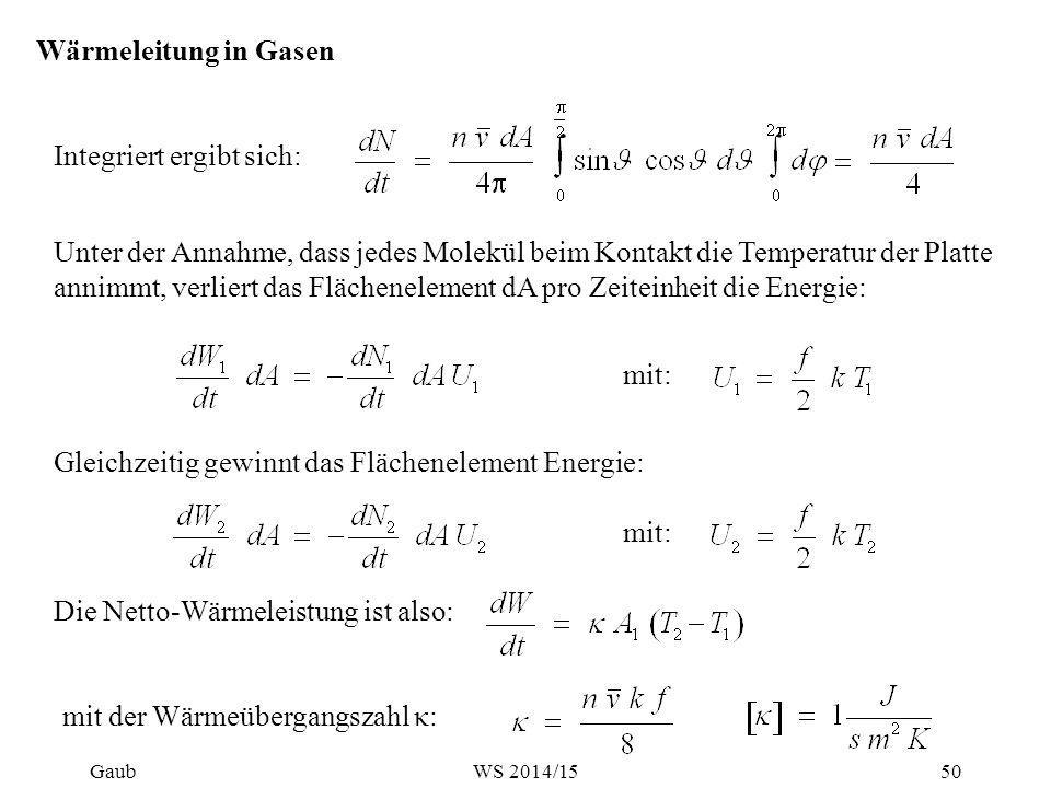 Wärmeleitung in Gasen Integriert ergibt sich: Unter der Annahme, dass jedes Molekül beim Kontakt die Temperatur der Platte annimmt, verliert das Fläch