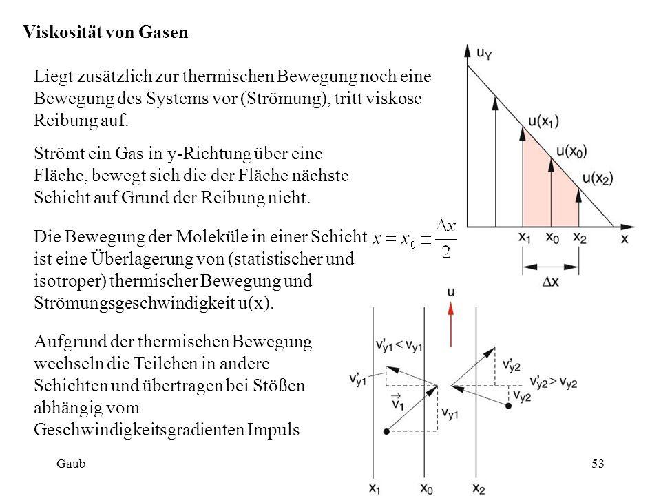 Viskosität von Gasen Liegt zusätzlich zur thermischen Bewegung noch eine Bewegung des Systems vor (Strömung), tritt viskose Reibung auf. Die Bewegung