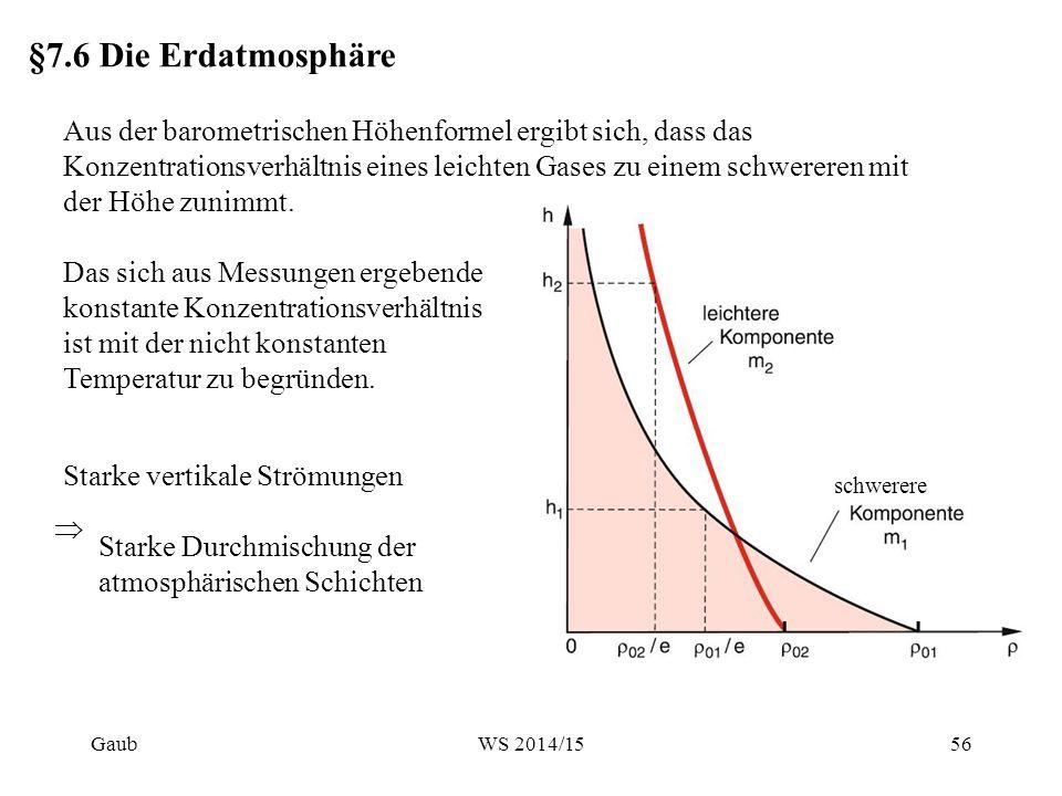 §7.6 Die Erdatmosphäre Aus der barometrischen Höhenformel ergibt sich, dass das Konzentrationsverhältnis eines leichten Gases zu einem schwereren mit