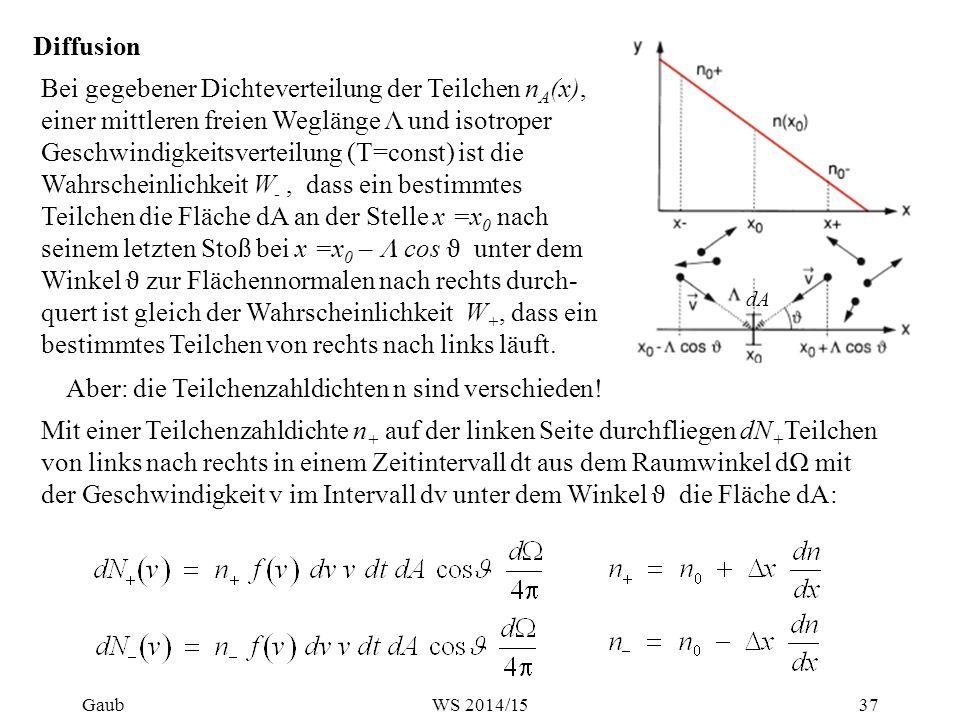 Diffusion Die Netto-Teilchenstromdichte durch dA ist: Beitrag der Teilchen mit v zur Stromdichte : 2π/3 Ficksches Gesetz: oder vektoriell: mit der Diffusionskonstanten 38GaubWS 2014/15