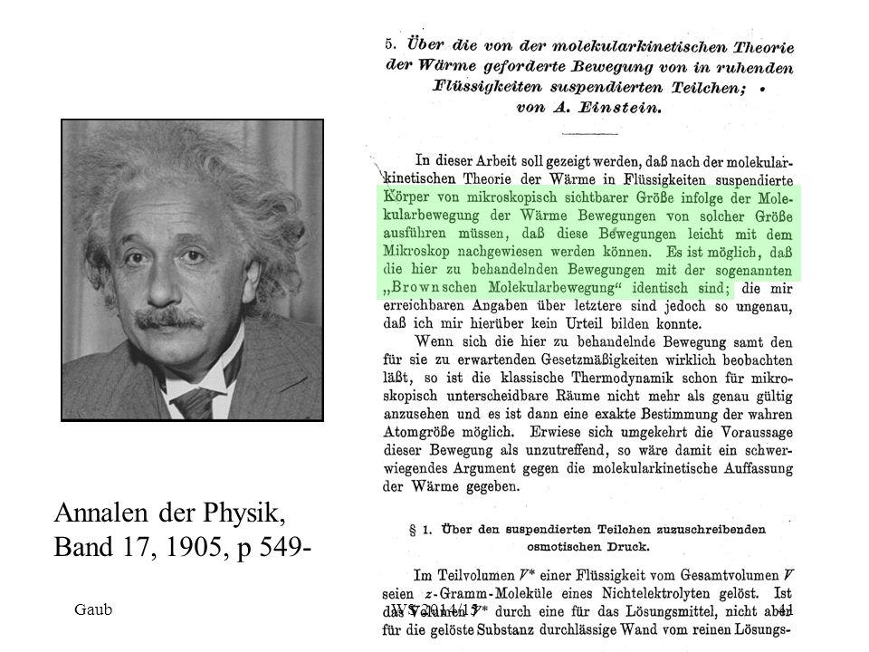 Annalen der Physik, Band 17, 1905, p 549- Gaub41WS 2014/15