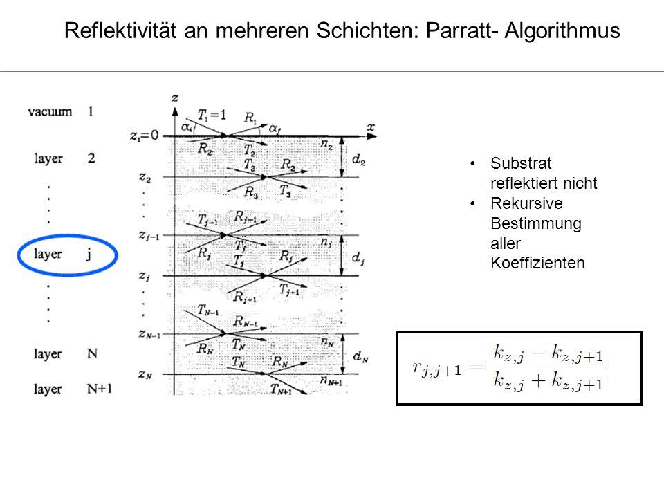 Reflektivität an mehreren Schichten: Parratt- Algorithmus Substrat reflektiert nicht Rekursive Bestimmung aller Koeffizienten