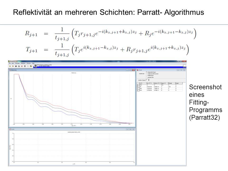 Reflektivität an mehreren Schichten: Parratt- Algorithmus Screenshot eines Fitting- Programms (Parratt32)