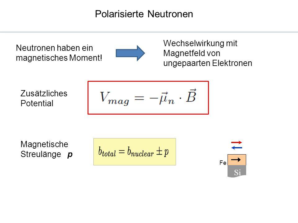 Polarisierte Neutronen Fe Si Neutronen haben ein magnetisches Moment! Wechselwirkung mit Magnetfeld von ungepaarten Elektronen Zusätzliches Potential