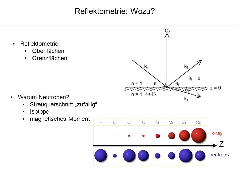 """Reflektometrie: Wozu? Reflektometrie: Oberflächen Grenzflächen Warum Neutronen? Streuquerschnitt """"zufällig"""" Isotope magnetisches Moment"""