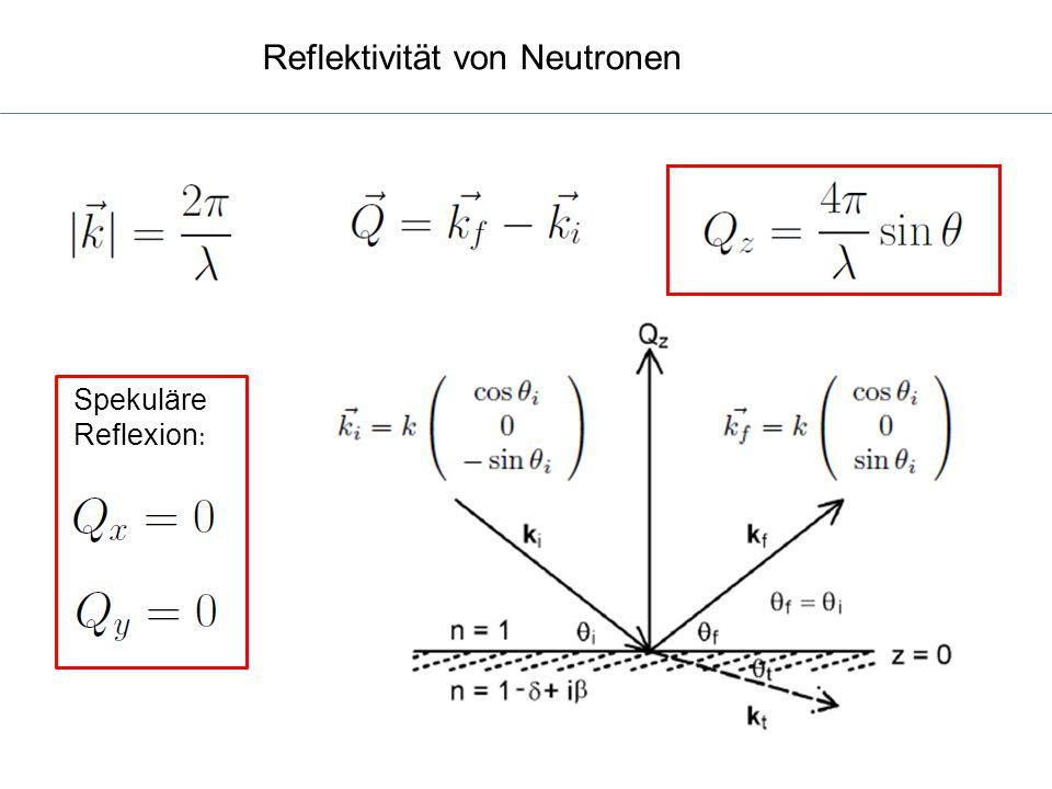 Reflektivität von Neutronen Spekuläre Reflexion :