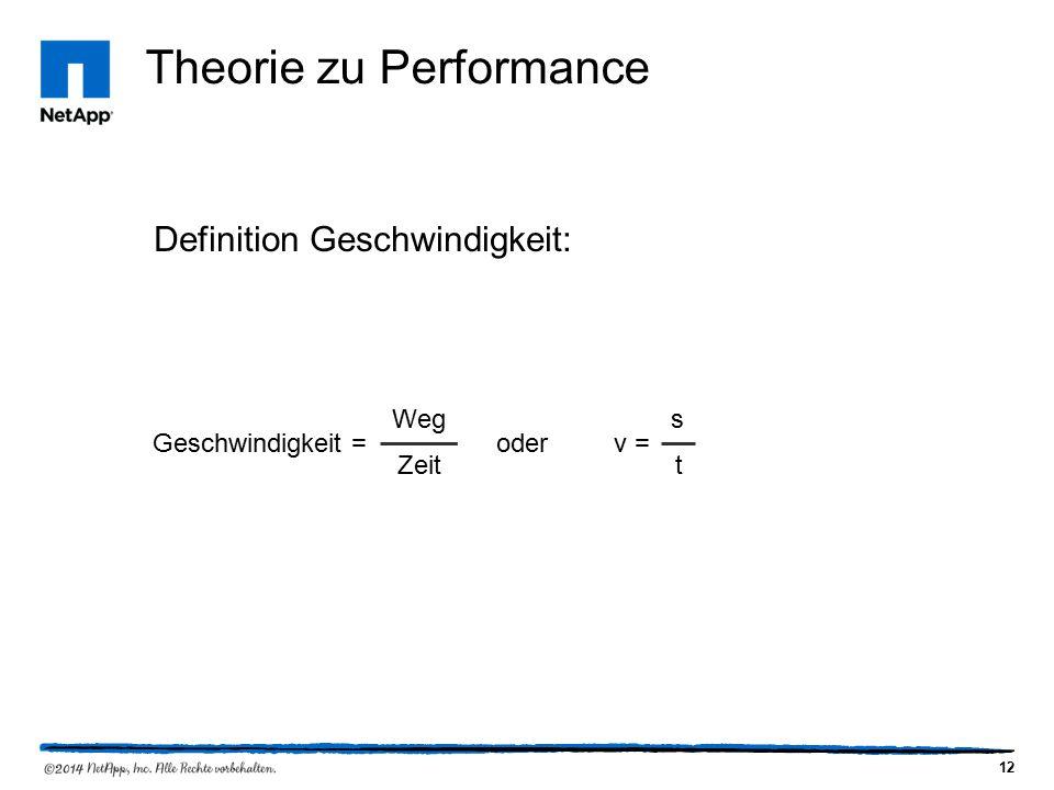 12 Theorie zu Performance Definition Geschwindigkeit: Geschwindigkeit = Weg Zeit oderv = s t