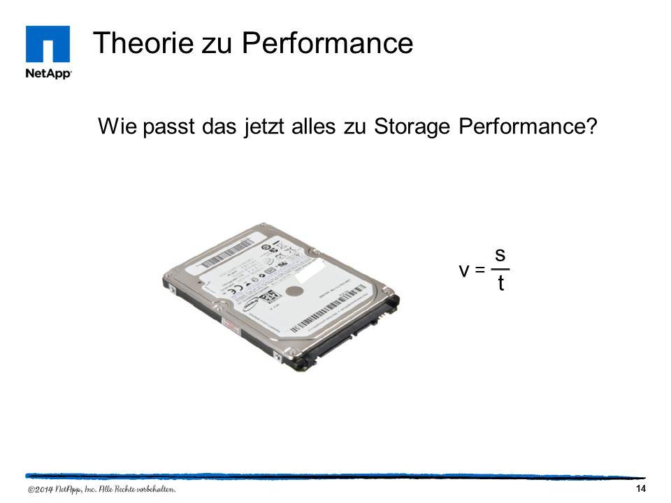 14 Theorie zu Performance Wie passt das jetzt alles zu Storage Performance v = s t