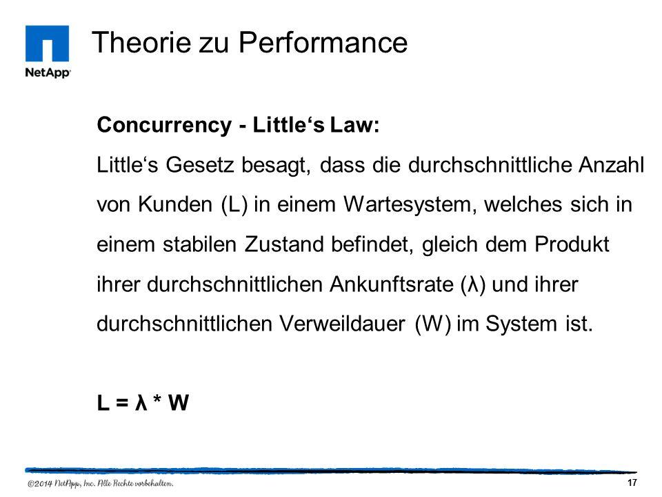 17 Theorie zu Performance Concurrency - Little's Law: Little's Gesetz besagt, dass die durchschnittliche Anzahl von Kunden (L) in einem Wartesystem, welches sich in einem stabilen Zustand befindet, gleich dem Produkt ihrer durchschnittlichen Ankunftsrate (λ) und ihrer durchschnittlichen Verweildauer (W) im System ist.