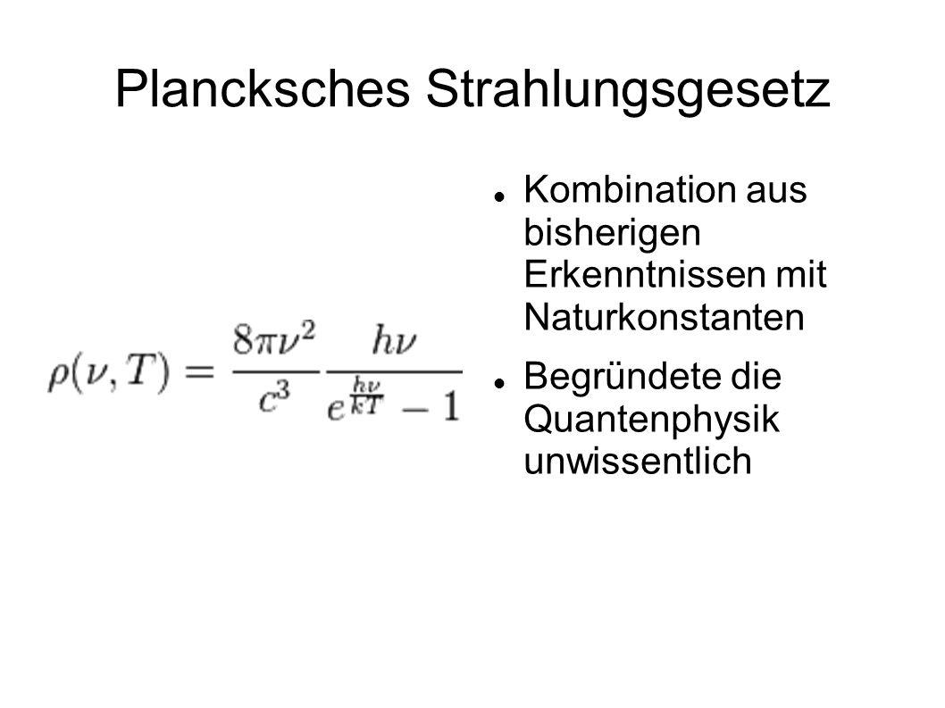 Plancksches Strahlungsgesetz Kombination aus bisherigen Erkenntnissen mit Naturkonstanten Begründete die Quantenphysik unwissentlich