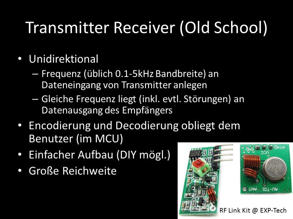 Transmitter Receiver (Old School) Unidirektional – Frequenz (üblich 0.1-5kHz Bandbreite) an Dateneingang von Transmitter anlegen – Gleiche Frequenz liegt (inkl.