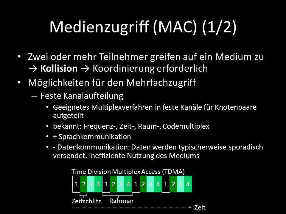 Medienzugriff (MAC) (1/2) Zwei oder mehr Teilnehmer greifen auf ein Medium zu → Kollision → Koordinierung erforderlich Möglichkeiten für den Mehrfachzugriff – Feste Kanalaufteilung Geeignetes Multiplexverfahren in feste Kanäle für Knotenpaare aufgeteilt bekannt: Frequenz-, Zeit-, Raum-, Codemultiplex + Sprachkommunikation - Datenkommunikation: Daten werden typischerweise sporadisch versendet, ineffiziente Nutzung des Mediums Zeitschlitz Rahmen Time Division Multiplex Access (TDMA) Zeit