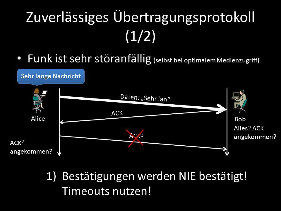 """Zuverlässiges Übertragungsprotokoll (1/2) Funk ist sehr störanfällig (selbst bei optimalem Medienzugriff) Sehr lange Nachricht Daten: """"Sehr lan ACK Bob Alice Alles."""