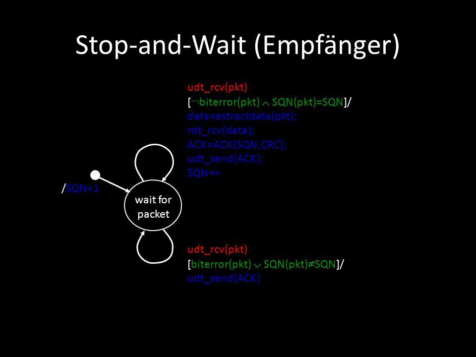 Stop-and-Wait (Empfänger) wait for packet /SQN=1 udt_rcv(pkt) [biterror(pkt)  SQN(pkt)  SQN]/ udt_send(ACK) udt_rcv(pkt) [  biterror(pkt)  SQN(pkt)=SQN]/ data=extractdata(pkt); rdt_rcv(data); ACK=ACK(SQN,CRC); udt_send(ACK); SQN++