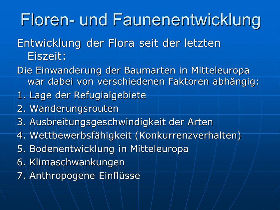 Floren- und Faunenentwicklung Entwicklung der Flora seit der letzten Eiszeit: Die Einwanderung der Baumarten in Mitteleuropa war dabei von verschiedenen Faktoren abhängig: 1.