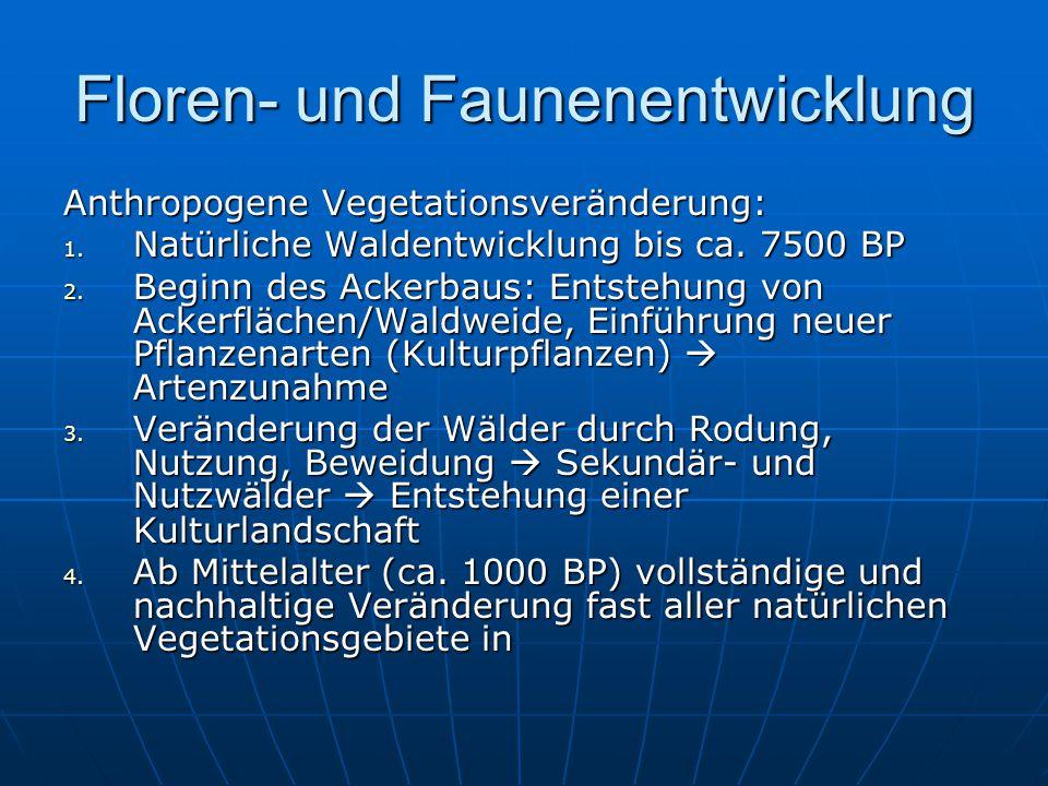 Floren- und Faunenentwicklung Anthropogene Vegetationsveränderung: 1.