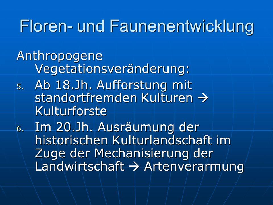 Floren- und Faunenentwicklung Anthropogene Vegetationsveränderung: 5.