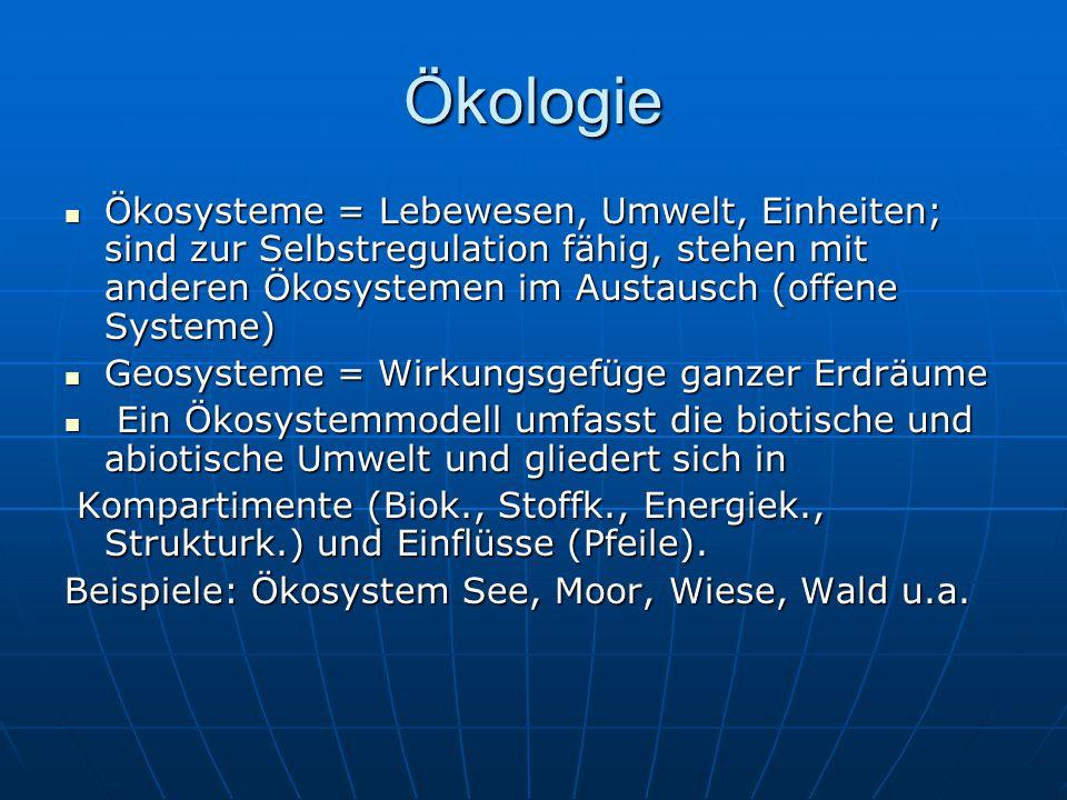 Ökologie Ökosysteme = Lebewesen, Umwelt, Einheiten; sind zur Selbstregulation fähig, stehen mit anderen Ökosystemen im Austausch (offene Systeme) Ökosysteme = Lebewesen, Umwelt, Einheiten; sind zur Selbstregulation fähig, stehen mit anderen Ökosystemen im Austausch (offene Systeme) Geosysteme = Wirkungsgefüge ganzer Erdräume Geosysteme = Wirkungsgefüge ganzer Erdräume Ein Ökosystemmodell umfasst die biotische und abiotische Umwelt und gliedert sich in Ein Ökosystemmodell umfasst die biotische und abiotische Umwelt und gliedert sich in Kompartimente (Biok., Stoffk., Energiek., Strukturk.) und Einflüsse (Pfeile).