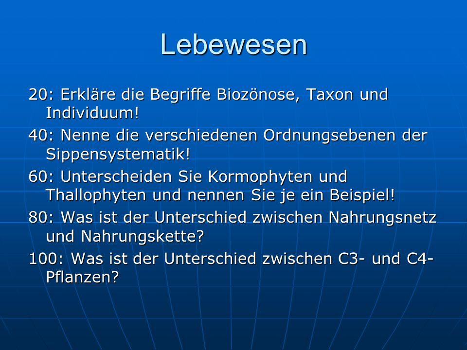 Lebewesen 20: Erkläre die Begriffe Biozönose, Taxon und Individuum.